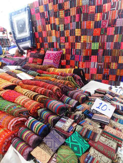 Rich, vibrant fabrics from the market