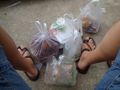 What a feast of goodies for dinner! Romantically eaten on the steps of 7/11