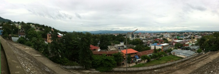 The view over Tachilek (Myanmar aka Burma) from the chedi